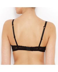 LA REDOUTE - Black Scalloped Lace Triangle Bra - Lyst