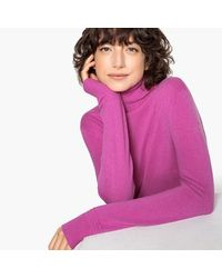 LA REDOUTE - Pink Cashmere Roll Neck Jumper/sweater - Lyst