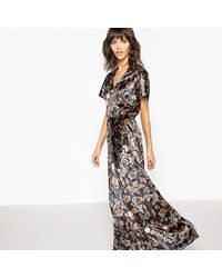 LA REDOUTE - Blue Printed Short-sleeved Maxi Dress - Lyst