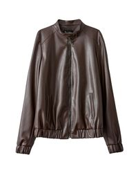 LA REDOUTE - Brown Faux Leather Bomber Jacket - Lyst