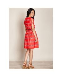 451539e552 Lyst - Yumi' Swimmer Print Cold Shoulder Dress in Red