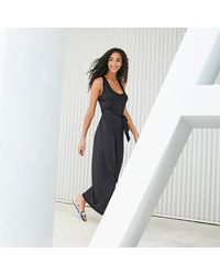LA REDOUTE - Black Maxi Dress With Tie Belt And Criss-crossed Back - Lyst