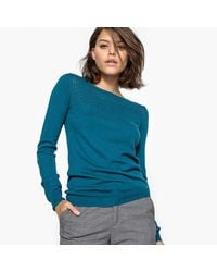 LA REDOUTE - Blue Cotton Mix Jumper/sweater With Openwork Detail - Lyst