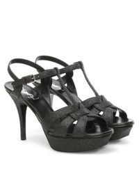 Saint Laurent - Black Tribute Glitter Platform Sandal - Lyst