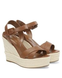 Sergio Rossi - Brown Maui 75 Tan Leather Wedge Sandal - Lyst