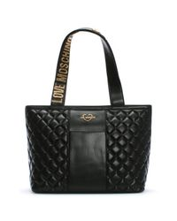 be160f16d2 Love Moschino Jersey Black Leather Quilted Shopper Bag in Black - Lyst