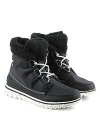 Sorel - Cozy Carnival Black Lace Up Sporty Fleece Lined Boot - Lyst