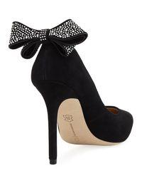 Neiman Marcus - Black Verity Bow-heel Suede Pump - Lyst