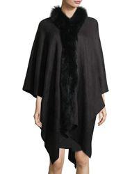 Adrienne Landau | Black Fur-trim Knit Serape Wrap | Lyst