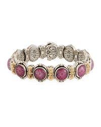 Konstantino - Multicolor Ornate Silver & 18k Round Ruby & Quartz Doublet Link Bracelet - Lyst