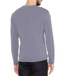Giorgio Armani - Blue Wave-print Long-sleeve Tee for Men - Lyst