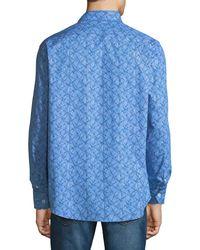 Bugatchi - Blue Classic-fit Geometric Pattern Sport Shirt for Men - Lyst