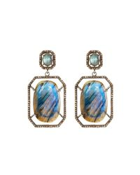 Bavna - Blue Octagonal Labradorite & Diamond Drop Earrings - Lyst