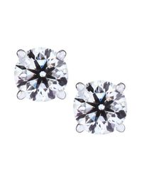 Neiman Marcus - Blue Round Diamond Stud Earrings - Lyst