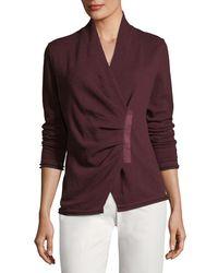 Lafayette 148 New York Purple Gathered Asymmetric Surplice-neck Cashmere Sweater