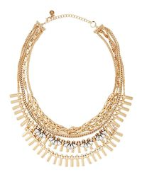 Lydell NYC - Metallic Golden Multi-strand Crystal Chain Necklace - Lyst