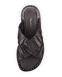 3.1 Phillip Lim - Black Nagano Ruched Leather Flat Slide Sandal - Lyst
