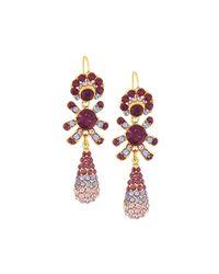 Jose & Maria Barrera - Metallic Golden Pave Crystal Triple-drop Earrings - Lyst
