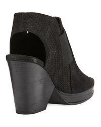 Eileen Fisher - Black Plus Woven-suede Open-toe Bootie - Lyst
