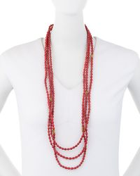 Akola - Red Long Triple-strand Paper Beaded Necklace - Lyst
