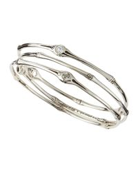 John Hardy | Metallic Bamboo Set Of Three White Topaz Bangles | Lyst