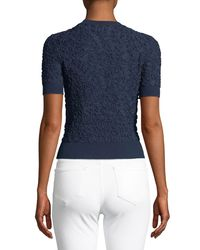 Michael Kors - Blue Cropped Short-sleeve Jacquard Sweater - Lyst