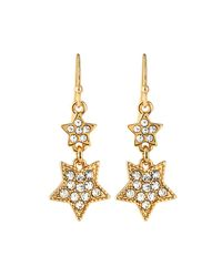 Lydell NYC - Metallic Double-star Pave Drop Earrings - Lyst