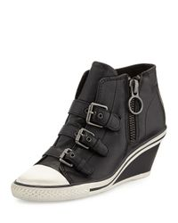 Ash | Black Gin Bis Buckled Leather Wedge Sneaker | Lyst