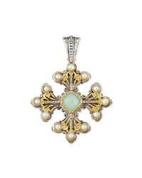 Konstantino - Sea Blue Agate & Pearl Cross Pendant - Lyst