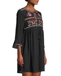 Haute Rogue - Black Elize Embroidered Boho Mini Dress - Lyst