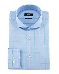 BOSS - Blue Jaxon Large-windowpane Slim-fit Dress Shirt for Men - Lyst