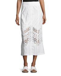 XCVI - White Bryant Eyelet Poplin Maxi Skirt - Lyst