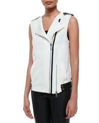 Andrew Marc | Black Ottoman Suiting Vest W/ Leather Trim | Lyst