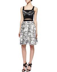 Diane von Furstenberg - Black Toile-pattern A-line Cutout Dress - Lyst