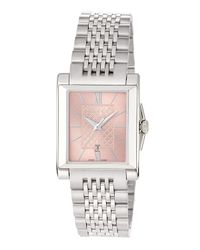 Gucci - G-timeless Rectangle Stainless Steel Bracelet Watch W/ Pink Dial - Lyst