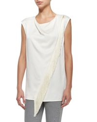 Belstaff | White Sleeveless Asymmetric Fringe Blouse | Lyst