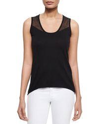 Tahari | Black Avonna Long Sheer Yoke Sweater Tank | Lyst
