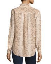 Equipment - Multicolor Slim Signature Long-sleeve Snake-print Silk Shirt - Lyst