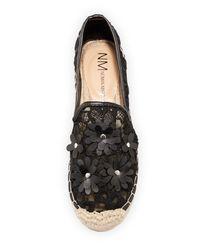 Neiman Marcus - Black Felicita Lace Flower Espadrille - Lyst