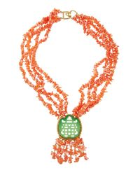 Kenneth Jay Lane - Pink Multi-strand Coral-beaded Statement Necklace - Lyst