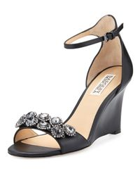 Badgley Mischka - Black Clear Crystal Leather Dressy Sandal - Lyst