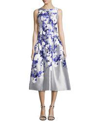 Kay Unger - Blue Satin Floral Tea-length Cocktail Dress - Lyst