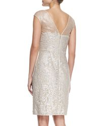 Kay J's By Kay Unger - Multicolor Cap-sleeve Lace Overlay Cocktail Sheath Dress - Lyst