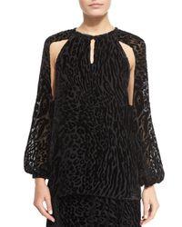 Altuzarra - Black Leopard-print Split-sleeve Blouse - Lyst