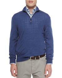 Ermenegildo Zegna - Blue Wool-blend Quarter-zip Pullover for Men - Lyst