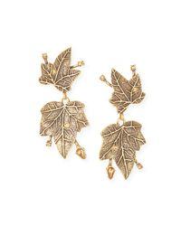 Oscar de la Renta | Metallic Ivy Gold-plated Crystal Clip Earrings | Lyst