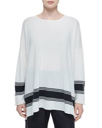 Eskandar - Gray Ribbon-striped Cashmere A-line Sweater - Lyst