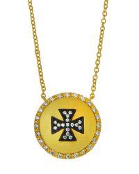 Freida Rothman | Metallic Crystal Maltese Cross Shield Pendant Necklace | Lyst