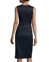 Shoshanna - Blue Sleeveless Metallic-stripe Sheath Dress - Lyst