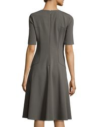 Lafayette 148 New York | Gray Corey Half-sleeve Fit & Flare Dress | Lyst
